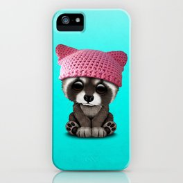 Cute Baby Raccoon Wearing Pussy Hat iPhone Case