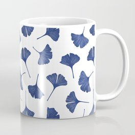 Blue Ginkgo Biloba Pattern Coffee Mug