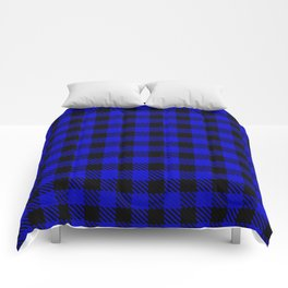 Medium Blue  Bison Plaid Comforters