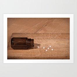 Pills and bottle concept Art Print