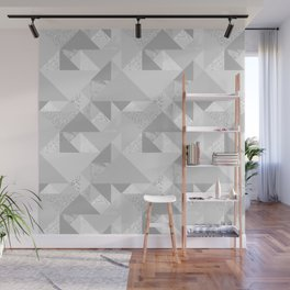 Modern abstract glacier gray white geometrical pattern Wall Mural