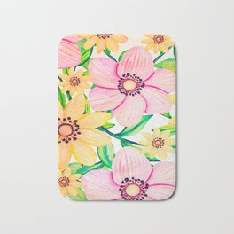Pink and Yellow Happiness Bath Mat