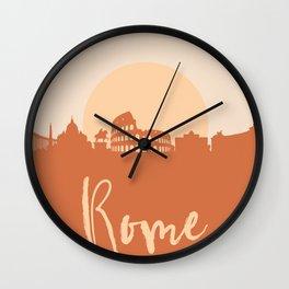 ROME ITALY CITY SUN SKYLINE EARTH TONES Wall Clock
