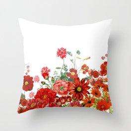 Vintage & Shabby Chic - Red Summer Flower Garden Throw Pillow