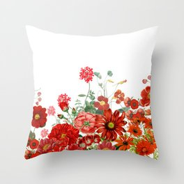 Vintage & Shabby Chic - Red Summer Flower Garden Throw Pillow