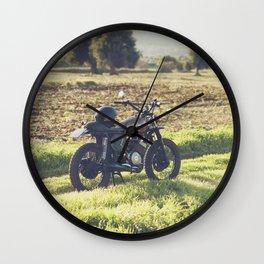 Moto guzzi, café racer, photo in south italy, man cave. Scrambler, fine art, motorcycle, motorbike Wall Clock