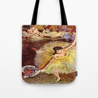 degas Tote Bags featuring Dancer with Bouquet by PureVintageLove