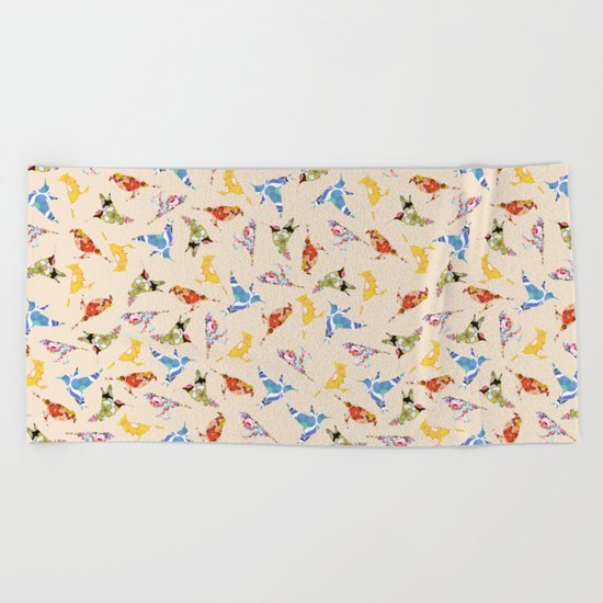 Vintage Wallpaper Birds Beach Towel