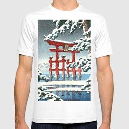Miyajima Shrine in Snow by Kawase Hasui - Japanese Vintage Woodblock Ukiyo-e Painting T-shirt