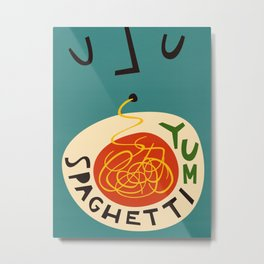 Yum Spaghetti Metal Print