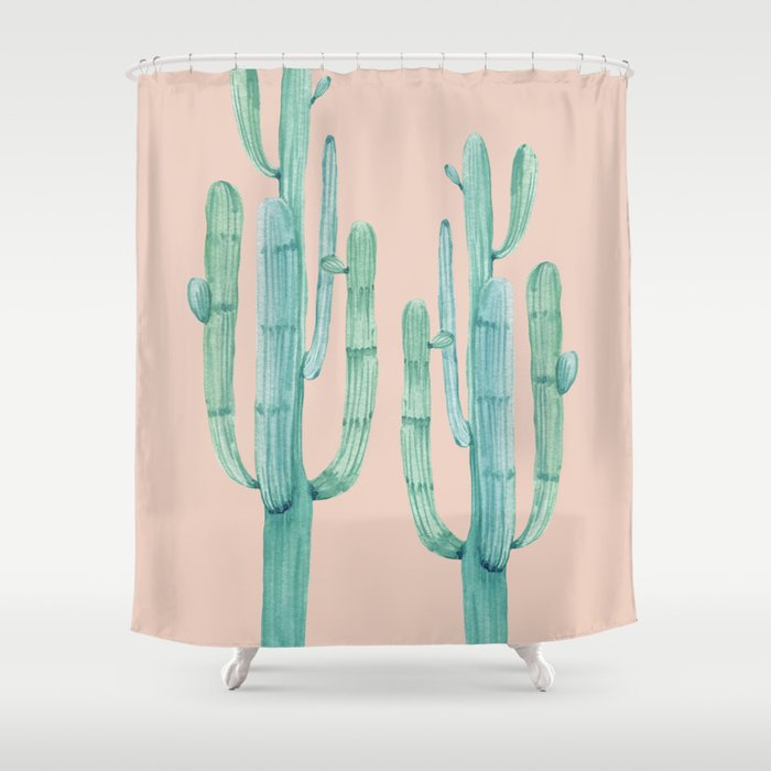 Besties Cactus Friends Turquoise Coral Shower Curtain By Naturemagick