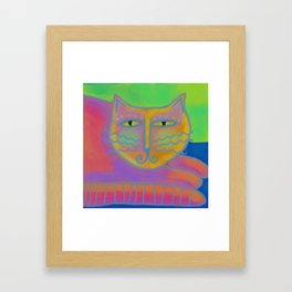 Colorful Abstract Cat Digital Painting  Framed Art Print