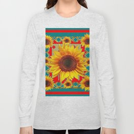 Red & Teal Sunflowers Pattern Art Long Sleeve T-shirt
