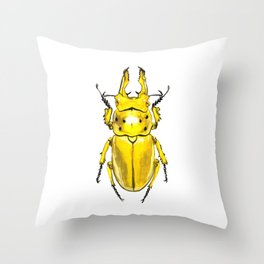 Yellow Japanese Stag Beetle Throw Pillow
