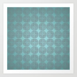 Tin circles on shiny turquoise pattern Art Print