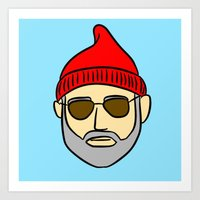 steve zissou Art Prints featuring Steve Zissou by CozyReverie