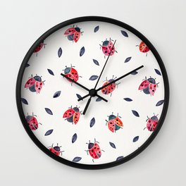 Lucky Ladybugs & Black Leaves Wall Clock