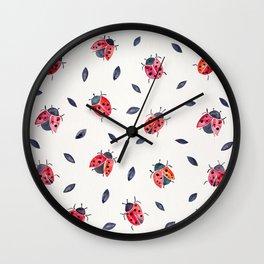 Lucky Ladybugs & Black Leaves Wall Clock