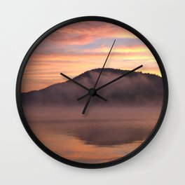 Fire in the Morning on Lake George Wall Clock