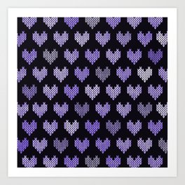 Colorful Knitted Hearts V Art Print