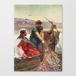 Peter and Jesus Fishing Canvas Print