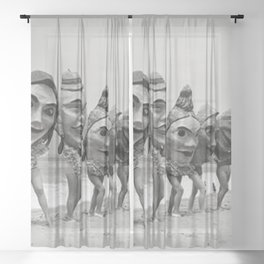 Women Wearing Bizzaro Macabre Carnival Masks at Venice Beach black and white photograph Sheer Curtain