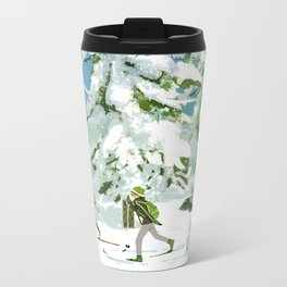Cross Country Skiing Metal Travel Mug