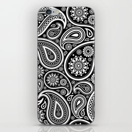Oriental Persian Paisley, Dots - Black White iPhone Skin