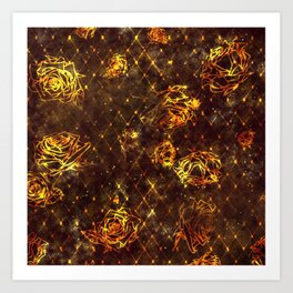 Diamond Rose Pattern - Maroon and Gold Art Print