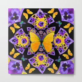 GOLDEN BUTTERFLIES PURPLE PANSIES BLACK DESIGN Metal Print