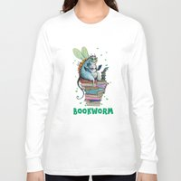 bookworm Long Sleeve T-shirts featuring Bookworm by TheVioletWall