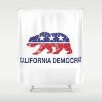 political Shower Curtains featuring California Political Democrat Bear Distressed by Democrat