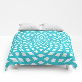 Classic Rosette Pattern in Stong Cyan and White Comforters
