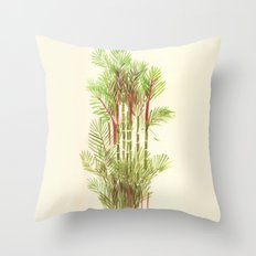 Palmier Rouge - Red Palmtree Throw Pillow