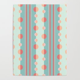Circles and Stripes in Succulent Green and Coral Poster