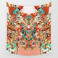 botanical Wall Tapestries featuring Botanical Yellow by RIZA PEKER