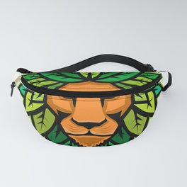 Lion With Leaves As Mane Mascot Fanny Pack