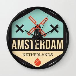 Amsterdam Windmill Badge XXX Wall Clock