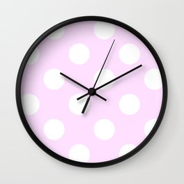 Large Polka Dots - White on Pastel Violet Wall Clock