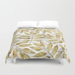 Modern gold autumn leaves design Duvet Cover