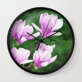 May Magnolia by Teresa Thompson Wall Clock