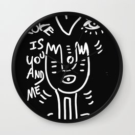 Love is You and Me Street Art Graffiti Black and White Wall Clock