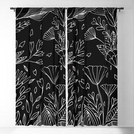 Ocean of Flowers Black Edition Blackout Curtain