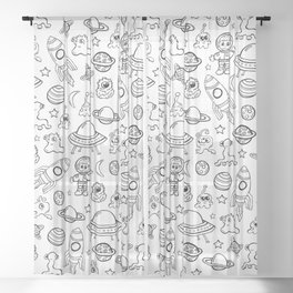 Space Print, Black and White pattern, Alien Illustration, Outer Space, Rocket Ship Sheer Curtain