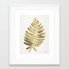 Golden Fern Leaf Framed Art Print