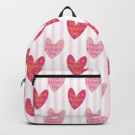 Blush pink white stripes heart mother's day typography Backpack