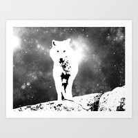 Walking on the moon Wolf Art Print