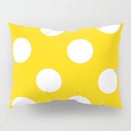 Large Polka Dots - White on Gold Yellow Pillow Sham