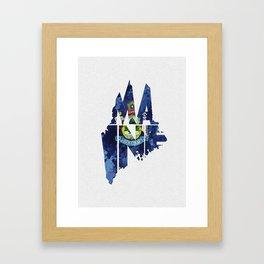 Maine Typographic Flag Map Art Framed Art Print