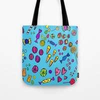 candy Tote Bags featuring Candy by andy_panda_
